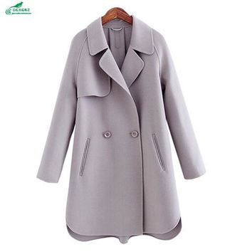 Winter wool coat Outerwear female high-end double-sided cashmere coat women's autumn and winter wool coat clothing OKXGNZ QQ1090