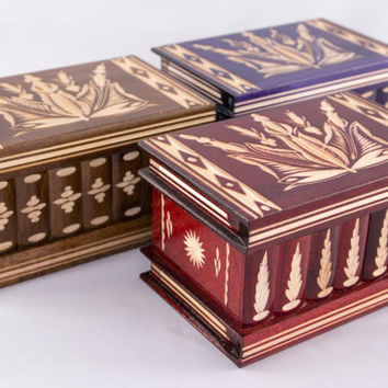 Lot of 3x Exquisite Hungarian Wooden Jewelry Box w/ Lock & Key