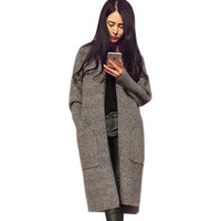 New Women Long Cardigans Autumn Winter Thicken Jacket Coat Casual Knitted Oversized Sweaters Cardigan Warm Outwear [8323043585]