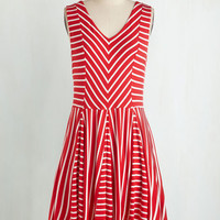 ModCloth Americana Mid-length Sleeveless Fit & Flare Carnival Aboard! Dress