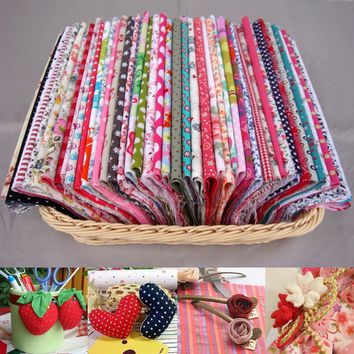 About 100pcs Pre-Cut Cotton Fabric Assorted Color Floral Printed Charm Quilting Craft Sewing Accessories Knitting Supplies