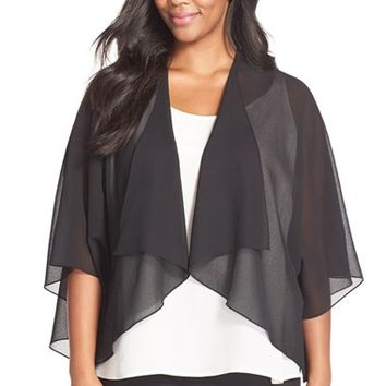Plus Size Women's Alex Evenings Cascading Cocoon Jacket,