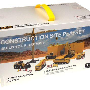 iPlay iLearn Construction Site Playset Educational Toy Crane Grader Cement Truck