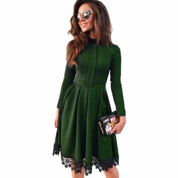 Women Long Sleeve vintage KNEE-LENGTH lace patchwork Dress