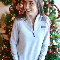 Vineyard Vines Sequin Shoulder Shep Shirt- Heather Grey