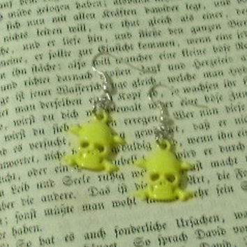 Yellow Skull Dangle Earrings - You Choose With Silver Or Gold Plated Earring Findings