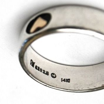 Sterling Silver  Band ring -  14 kt gold heart - size 9 ring