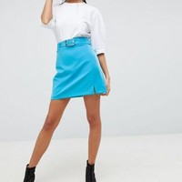 ASOS DESIGN tailored mini with belt and front split at asos.com
