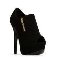 Sale-black Quilted Peep Toe Booties