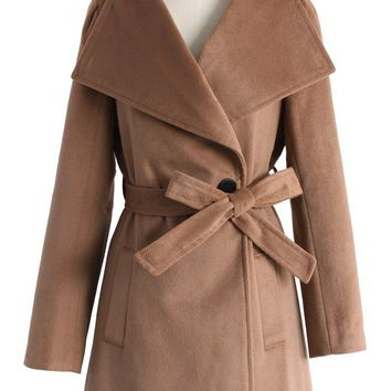 Urban Chic Belted Woolen Coat in Tan