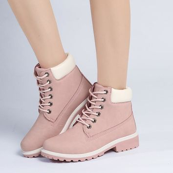 2017 new spring shoes Pink Nubuck Leather Women Boots Lace up Casual Ankle Boots Marti