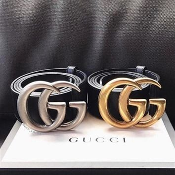 GUCCI New Fashion Classic Couple Double Smooth Metal Buckle Belt Black Leather Belt I