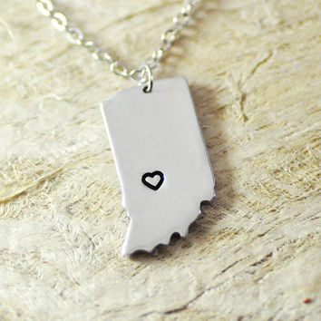 Indiana Necklace alloy 925 sterling silver necklace heart necklace Pendant State Necklace State Charm Map necklace Map Jewelry