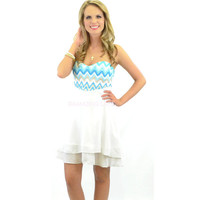 RESTOCKED Summer Dance White & Aqua Strapless Dress Zig Zag Bodice