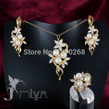 Fashion Jewelry Set 18K gold plated crystal & pearl necklace ring earring for woman pretty cute wedding gift Jmiya brand S544