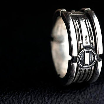 Lightsaber Wedding Ring Star Wars Band Sterling Silver Custom Ring