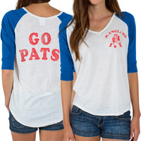 New England Patriots Junk Food Women's Victory Tri-Blend V-Neck Three-Quarter Sleeve T-Shirt – White