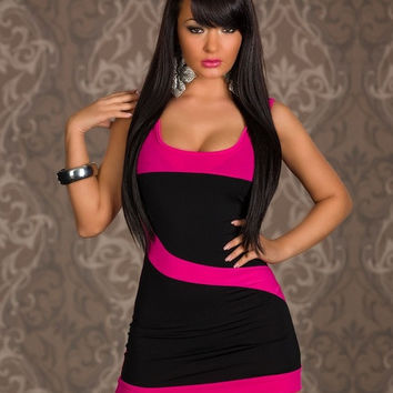 Voglee Women New stylish Sexy Ladies's Bandage Sheath Sleeveless Hot Pink Black Patchwork Clubwear Party Dress = 1946569860