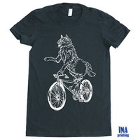 Womens WOLF on BIKE  American Apparel t shirt - S M L XL (11 Colors Available)