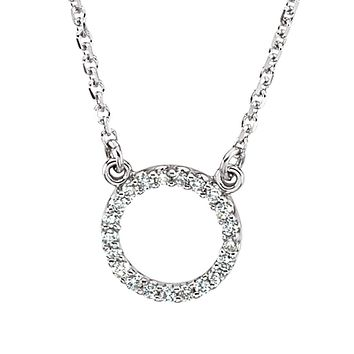 1/10 cttw Diamond Circle Necklace in 14k White Gold