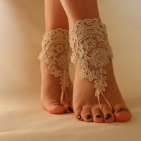 FREE SHİPP Beach Wedding Barefoot Sandals Wedding Shoes Champagne Lace Shoes,Bridal Anklet