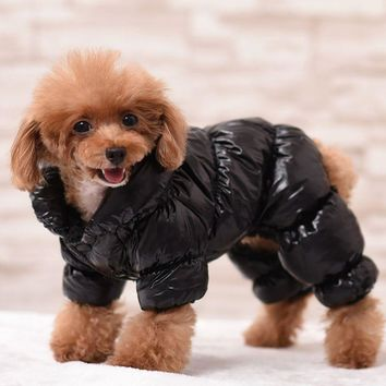 Winter Warm Pet Down Coat Soft Cotton Puppy Clothes Padded Jacket Clothing