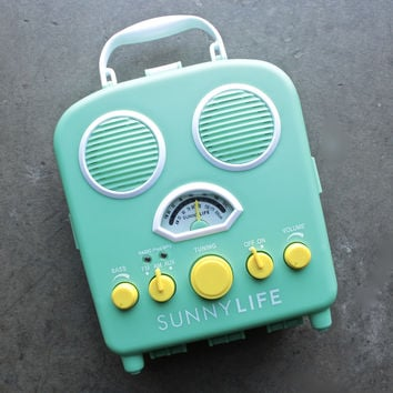 sunnylife - beach sounds portable water resistant speaker & radio in green