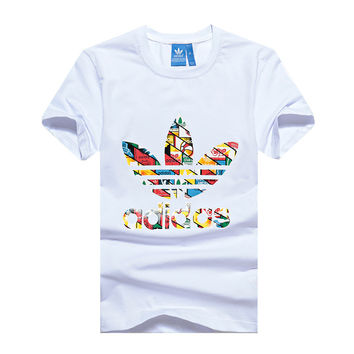 Trendsetter Adidas Woman Fashion Multicolor Print Sport Short Sleeve Shirt Top Tee