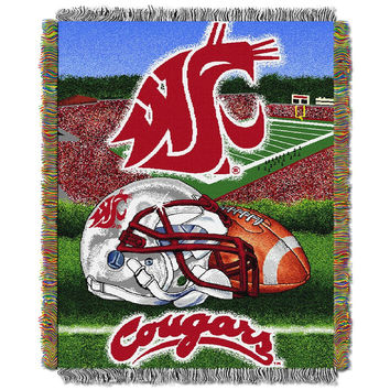 Washington State Cougars NCAA Woven Tapestry Throw (Home Field Advantage) (48x60)