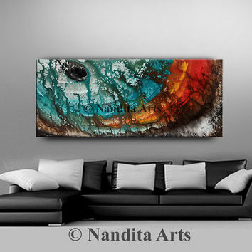 Abstract painting, red and turquoise blue art, ORIGINAL PAINTINGS, Huge wall art, contemporary modern canvas art artwork - Nandita Albright