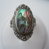 Sterling Silver 925 Oval Abalone Marcasite Ring Size 8