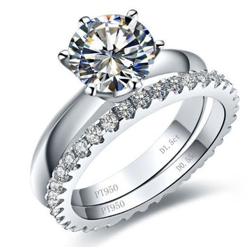 Clear 4 Excellent Fabulous Design 3.77 Carat Solid 18K White Gold Synthetic Diamond Engagement Ring With Band