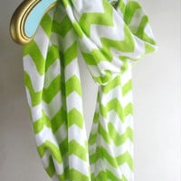 Lime Green Infinity Chevron Scarf, soft Jersey knit Ready to ship