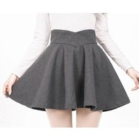 High Waisted Bust Skirt Middle Long Pleated A-line Skirt grey S