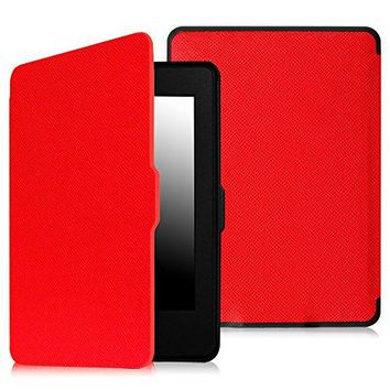 Fintie SmartShell Case for Kindle Paperwhite - The Thinnest and Lightest PU Leather Cover With Auto Sleep/Wake for All-New Amazon Kindle Paperwhite (Fits All 2012, 2013, 2015 and 2016 Versions), Red