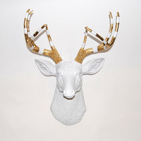 White Deer Head - The Elvis - White Resin Deer Head w/Gold & White Stripe Antlers- White Deer Antlers Mounted- Faux Head Wall Mount