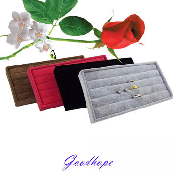 Fantastic 11*22*2cm High Quality Velvet Ring Tray Jewelry Display Case Jewelry Display Storage Box 4 Colors Available Organizer