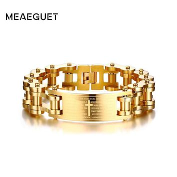 Meaeguet 18mm Wide Gold Color Stainless Steel Bike Motorcycle Chain Bracelet Cross Bible Lords Words Charm Bracelet Men Jewelry