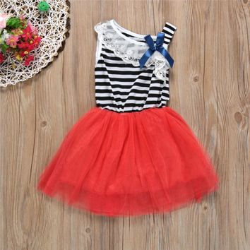 Lace Bowknot Dresses for Baby Girl, Summer Princess Striped Sleeveless Dress Clothing for Girls, Kids Party Clothes