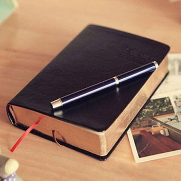 VONC1Y Vintage Thick Paper Notebook Notepad Leather Bible Diary Book Zakka Journals Agenda Planner School Office Stationery Supplies