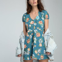 Quinzy Tea Dress in Blue Bouquet by Motel