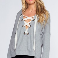 Audrina Lace Up Top - Heather Gray