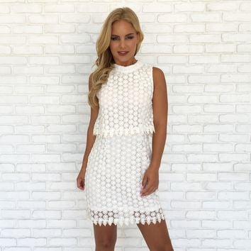Sugar Daisy Crochet Dress In Ivory