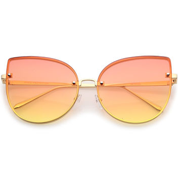 Women's Gradient Floating Flat Lent Cat Eye Sunglasses C069