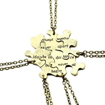 5 pcs/set Vintage Interlocking Jigsaw Puzzle BFF Necklaces Best Friends Forever Pendant & Necklace Retro Link Chain Jewelry