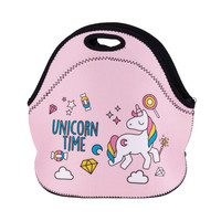Who Cares New Fashion UNICORN TIME 3D Printing Lunch Bag For Women Kids Insulation Waterproof Lunch Box Food Bag
