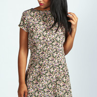 Cheryl Back Detail Floral Shift Dress