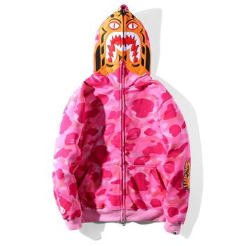 Bape Aape  Autumn Winter Classic Fashion Women Men Pink Camouflage Tiger Head Shark Mouth Embroidery Hoodie Velvet Sweatshirt Zipper Cardigan Jacket Coat I13811-1