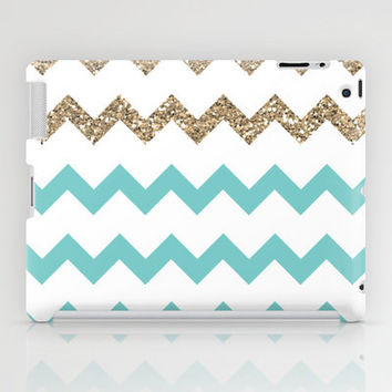 Blue and Gold Glitter Chevrons iPad Case by PrintableWisdom | Society6