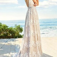 New White Floral Lace Deep V-neck Backless Prom Wedding Party Maxi Dress